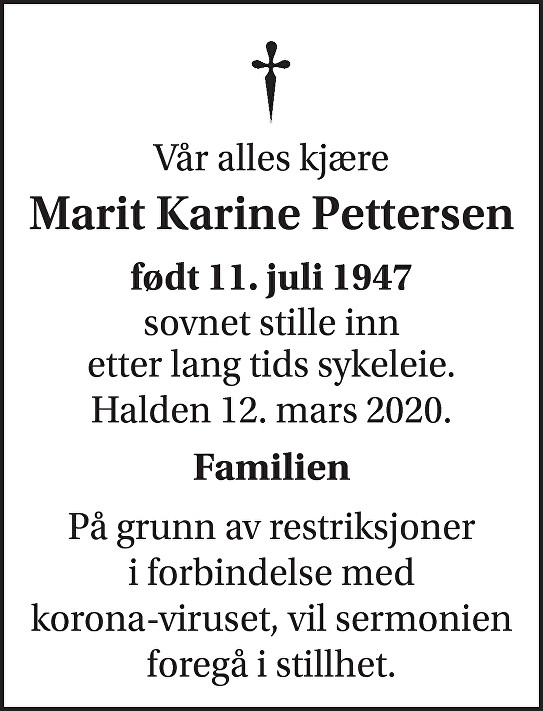 Marit Karine Stenvald Pettersen Dødsannonse