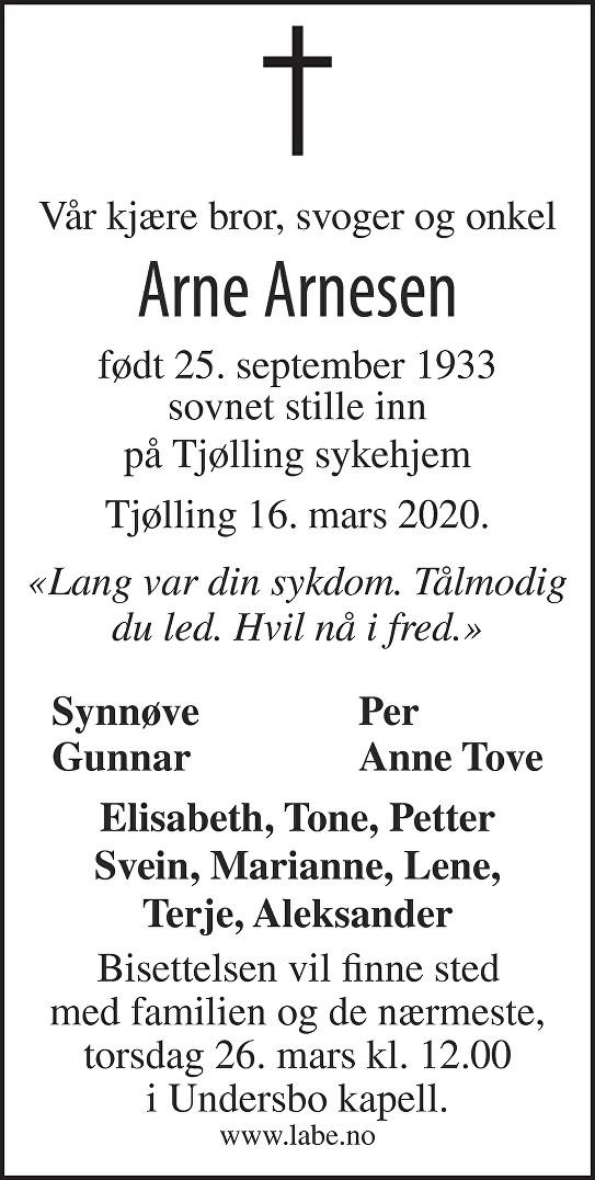 Arne Arnesen Dødsannonse