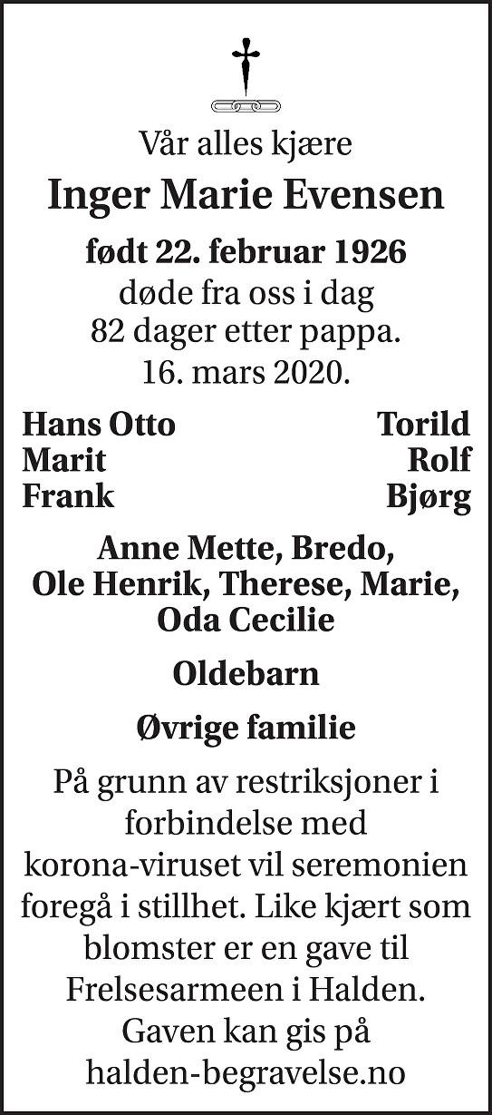 Inger Marie Sonja Evensen Dødsannonse
