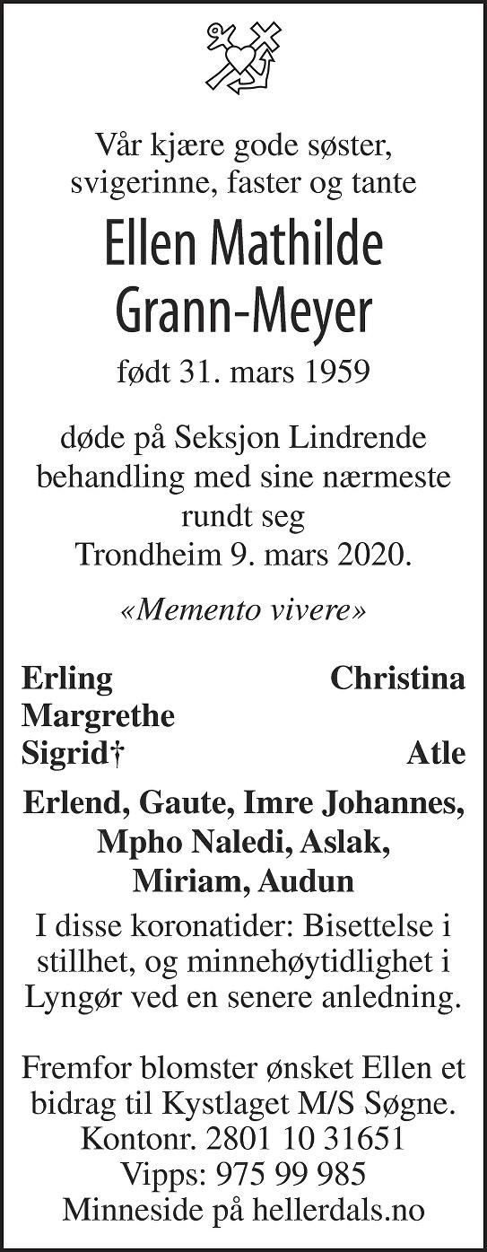 Ellen Mathilde Grann-Meyer Dødsannonse