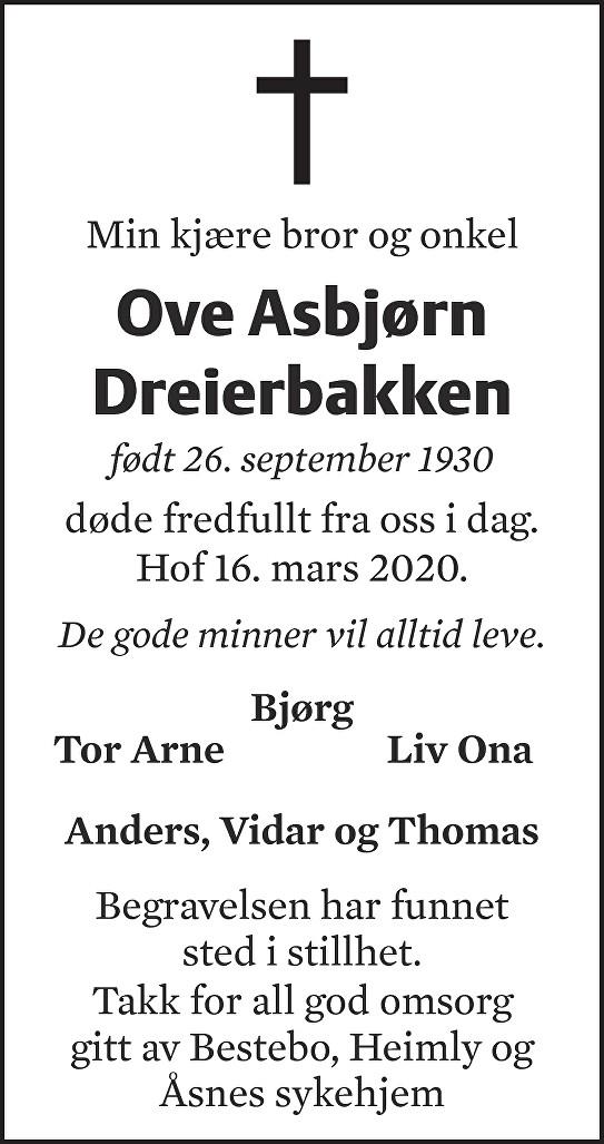 Ove Asbjørn Dreierbakken Dødsannonse