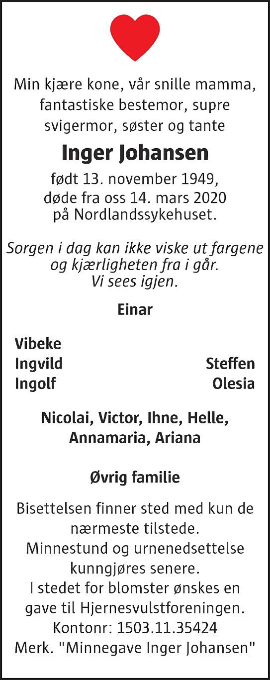 Inger Johansen Dødsannonse