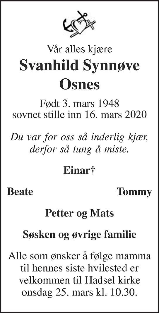 Svanhild Synnøve Osnes Dødsannonse
