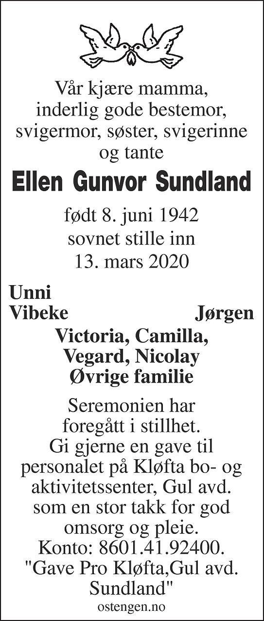 Ellen Gunvor Sundland Dødsannonse