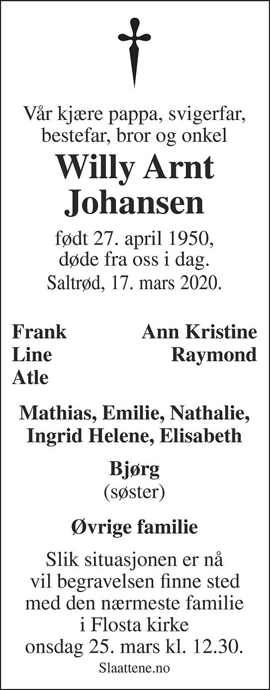 Willy Arnt Johansen Dødsannonse