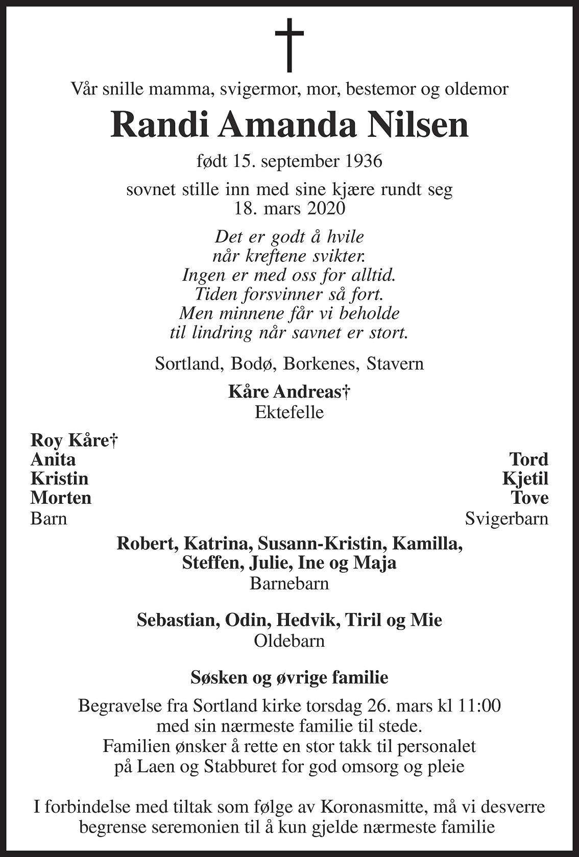 Randi Amanda Nilsen Dødsannonse