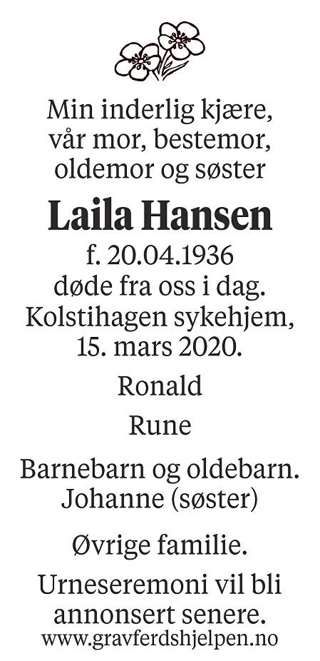 Laila Hansen Dødsannonse