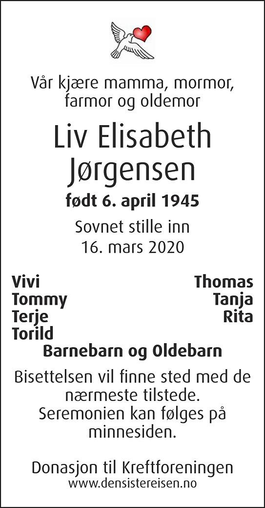 Liv Elisabeth Jørgensen Dødsannonse