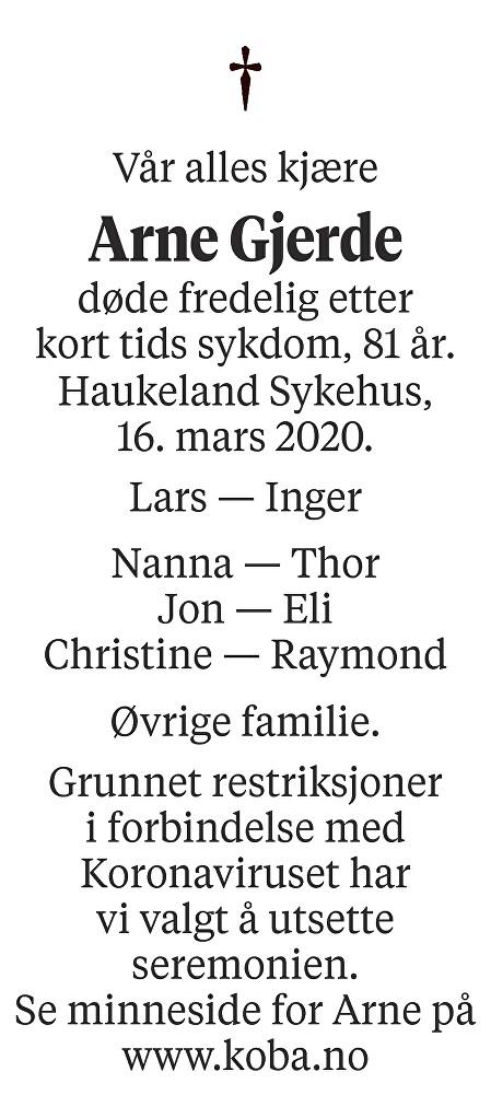 Arne Gjerde Dødsannonse