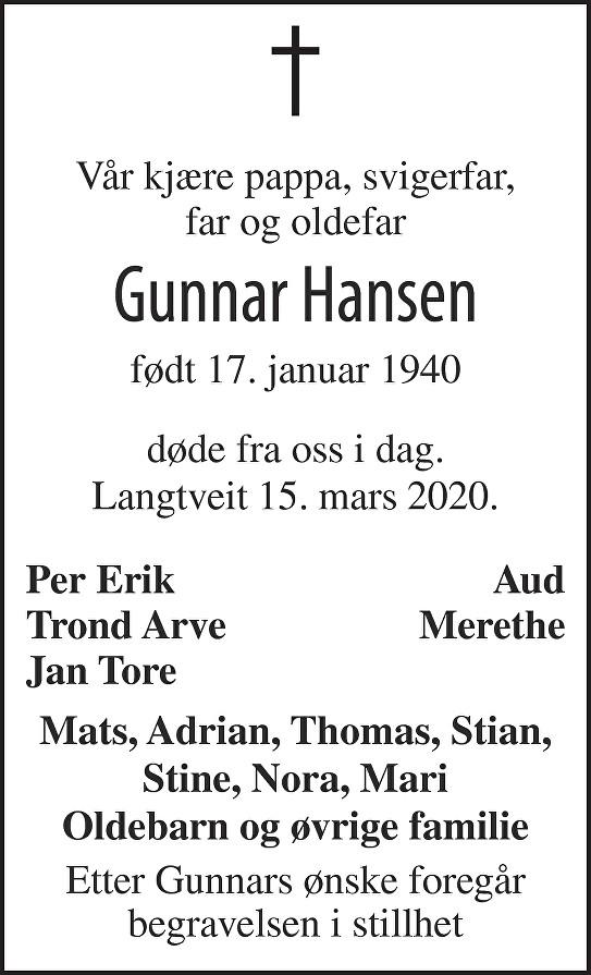 Gunnar Hansen Dødsannonse