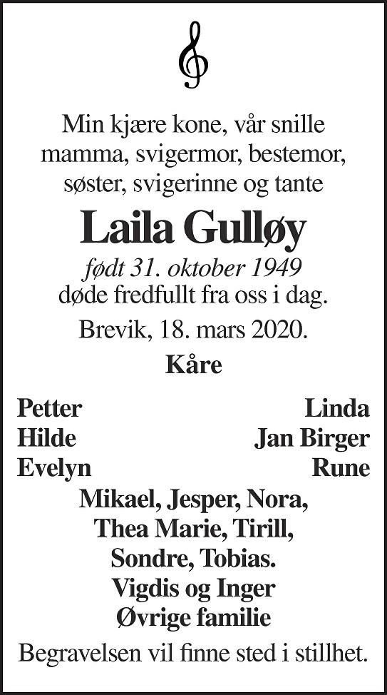 Laila Gulløy Dødsannonse
