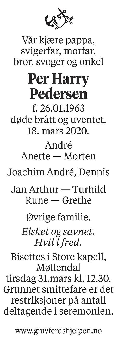Per Harry Pedersen Dødsannonse
