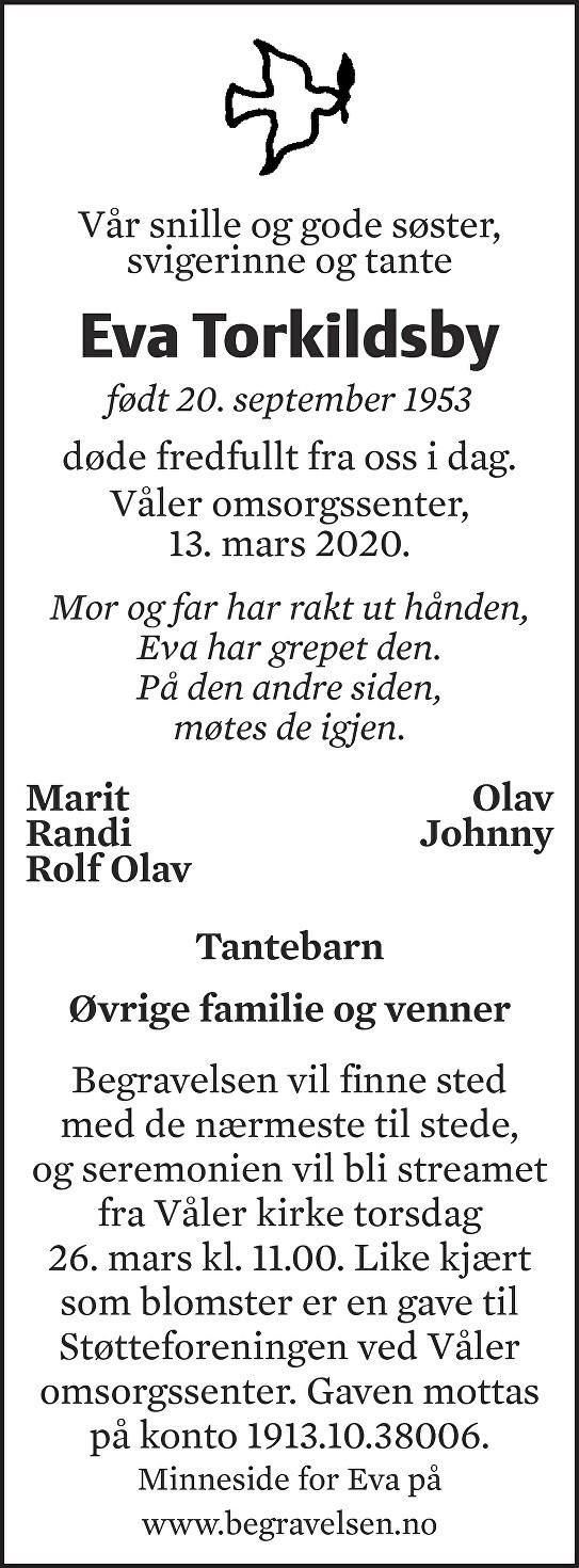 Eva Torkildsby Dødsannonse