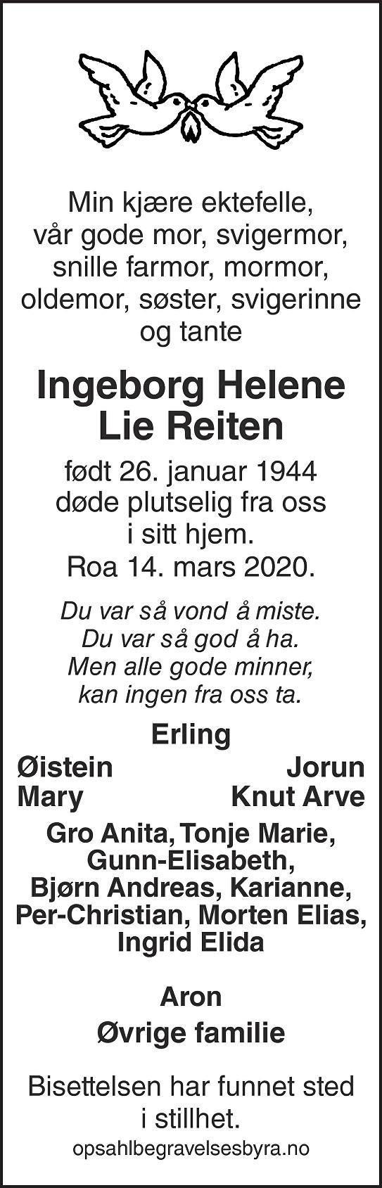 Ingeborg Helene Lie Reiten Dødsannonse