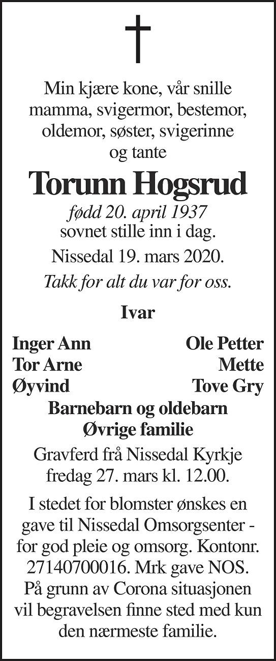 Torunn Hogsrud Dødsannonse