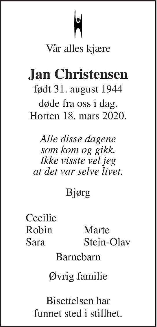 Jan Christensen Dødsannonse