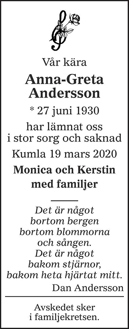 Anna-Greta Andersson Death notice
