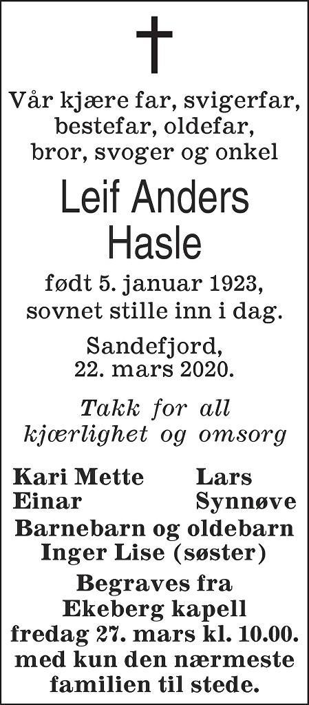 Leif Anders Hasle Dødsannonse