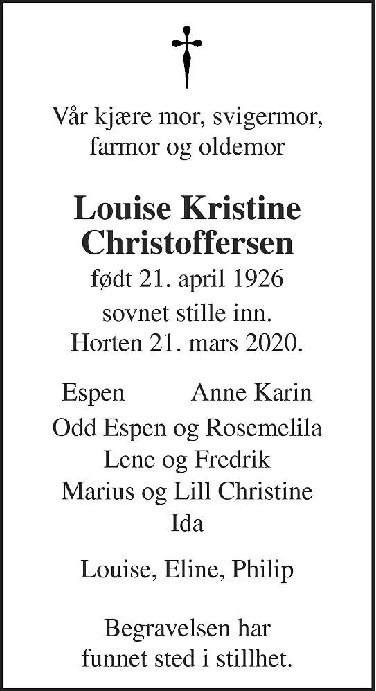 Louise Kristine Christoffersen Dødsannonse