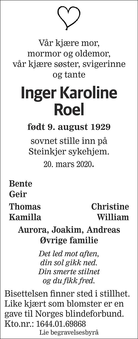 Inger Karoline Roel Dødsannonse