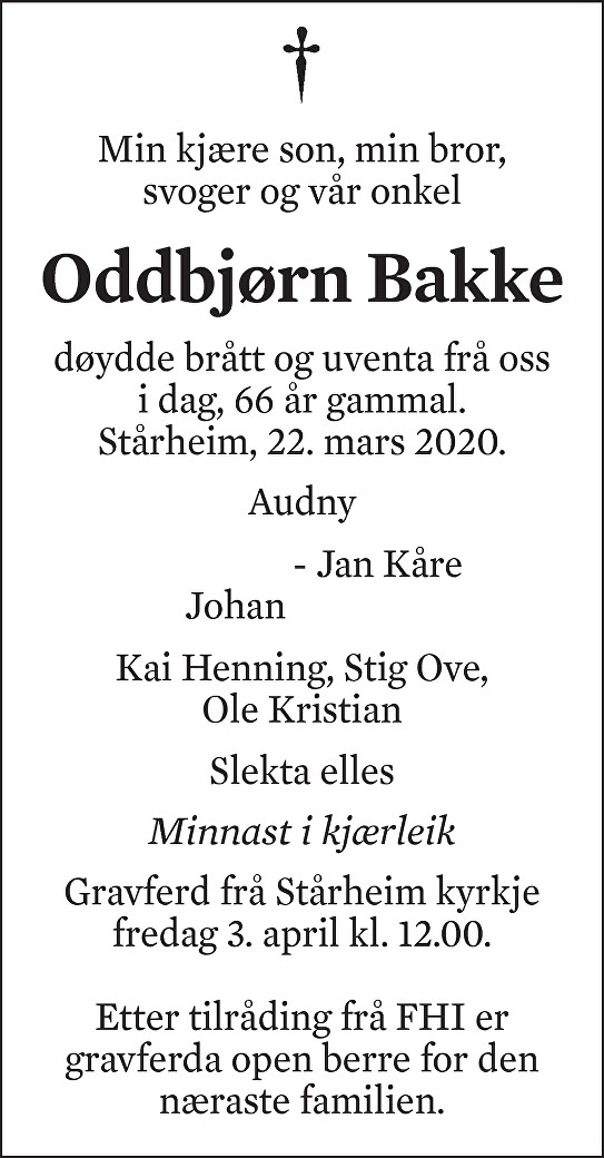Oddbjørn Bakke Dødsannonse