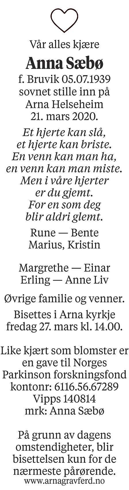Anna Sæbø Dødsannonse