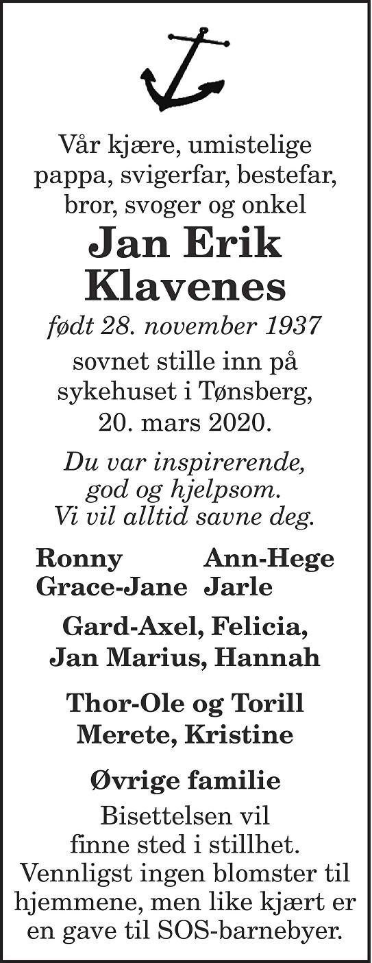 Jan Erik Klavenes Dødsannonse