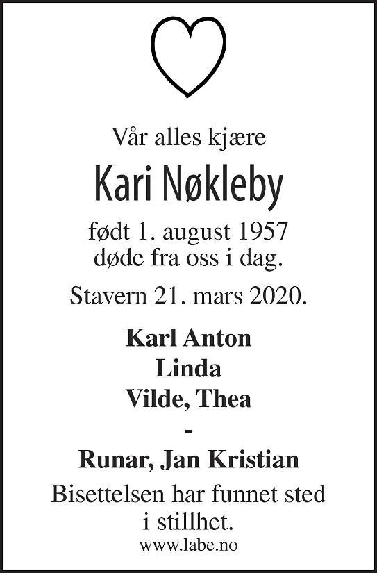 Kari Nøkleby Dødsannonse