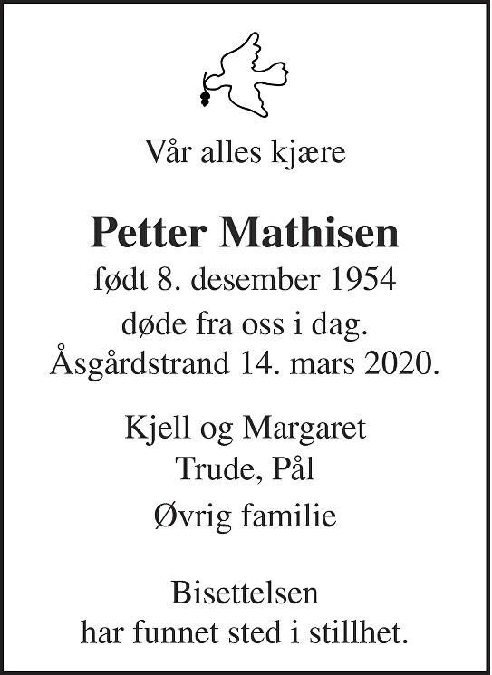Petter Mathisen Dødsannonse