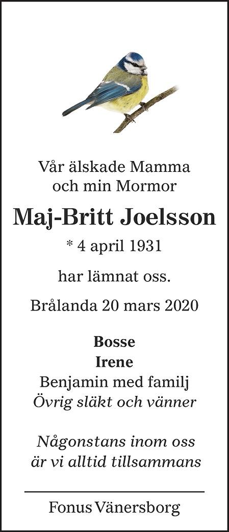 Maj-Britt Joelsson Death notice