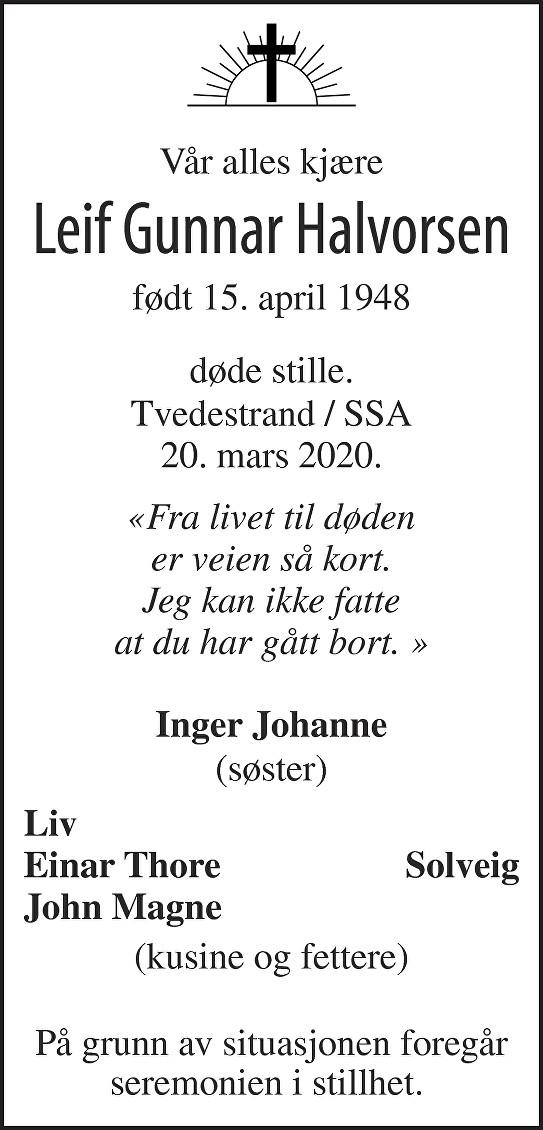 Leif Gunnar Halvorsen Dødsannonse
