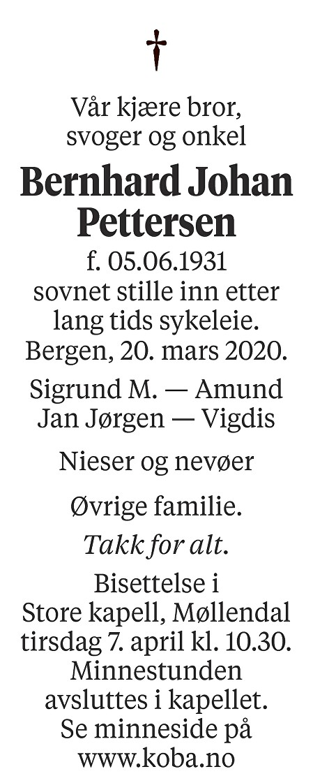 Bernhard Johan Pettersen Dødsannonse