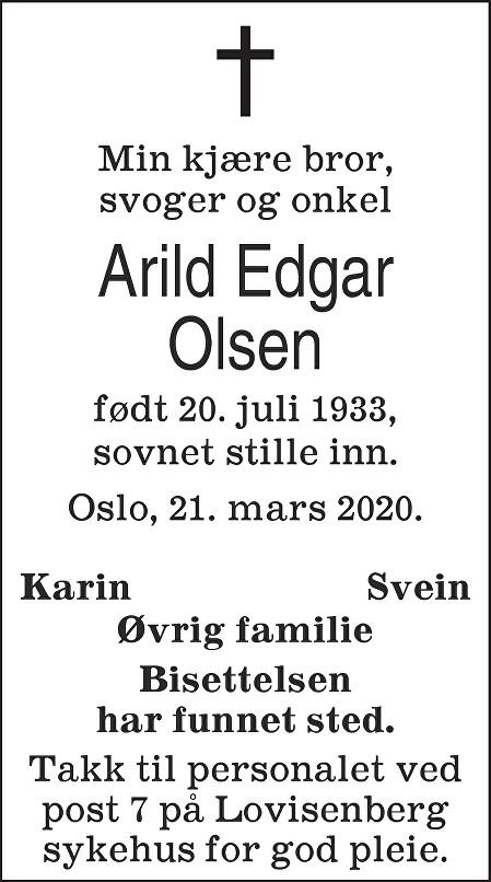 Edgar Arild Olsen Dødsannonse