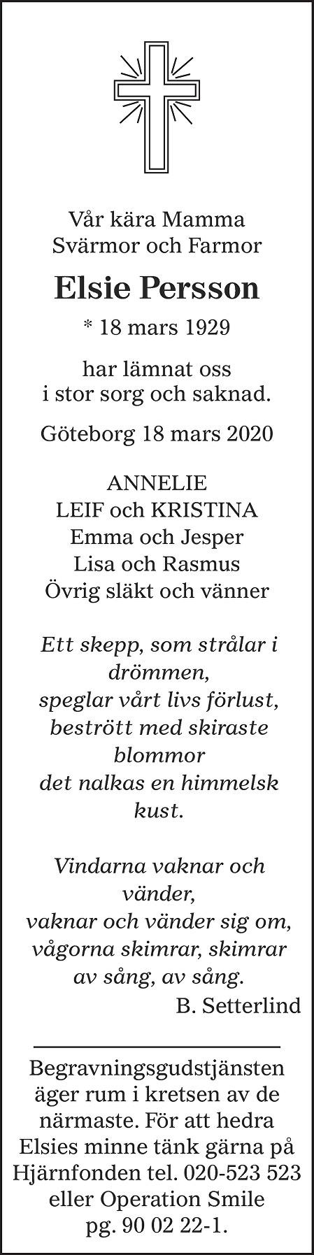 Elsie Persson Death notice