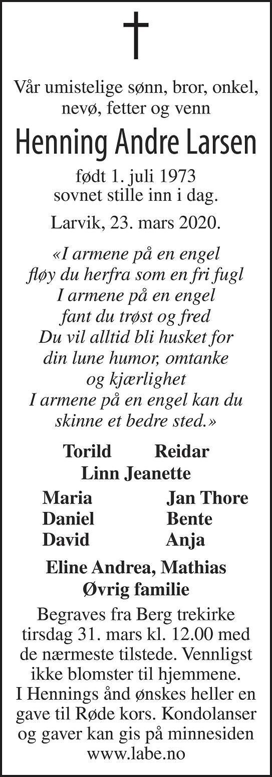 Henning Andre Larsen Dødsannonse
