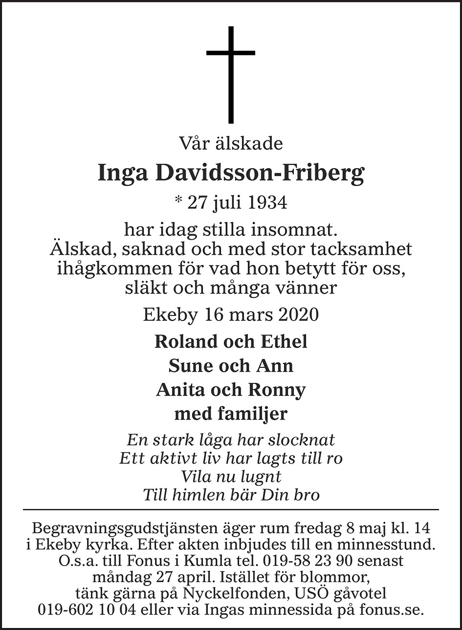 Inga Davidsson Friberg Death notice