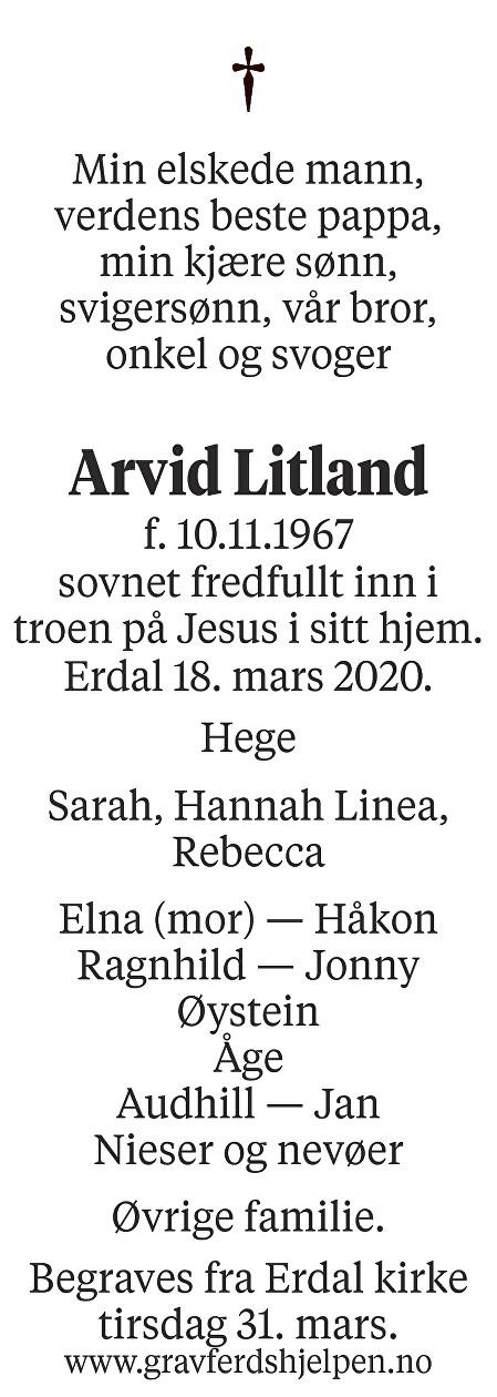 Arvid Litland Dødsannonse