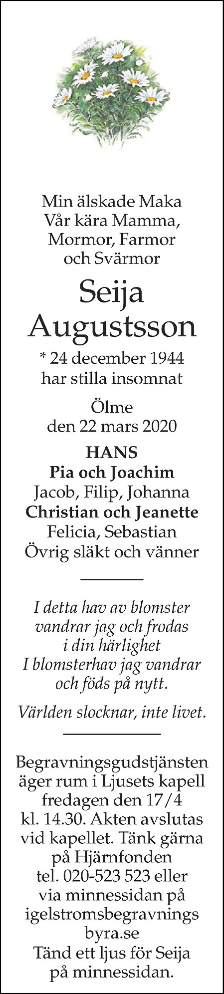 Seija Augustsson Death notice