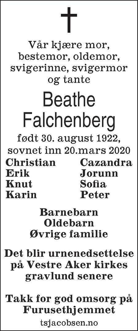 Beathe Falchenberg Dødsannonse