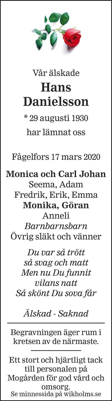 Hans Danielsson Death notice