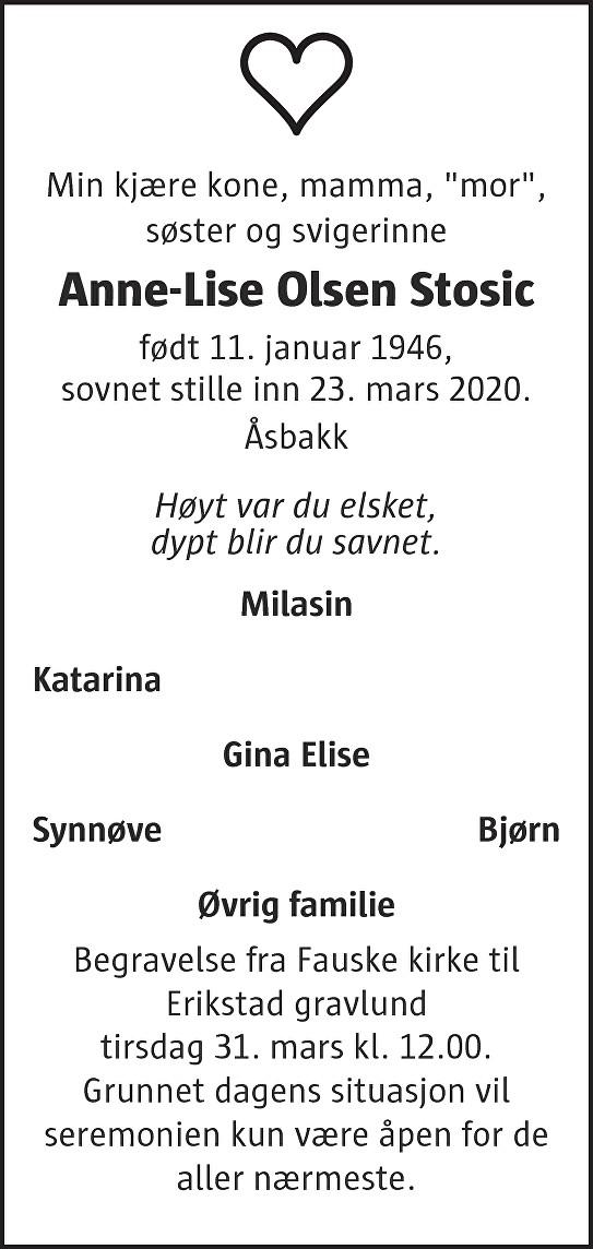 Anne-Lise Olsen Stosic Dødsannonse
