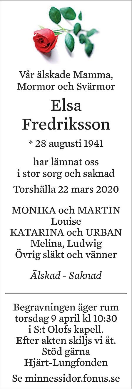 Elsa Fredriksson Death notice