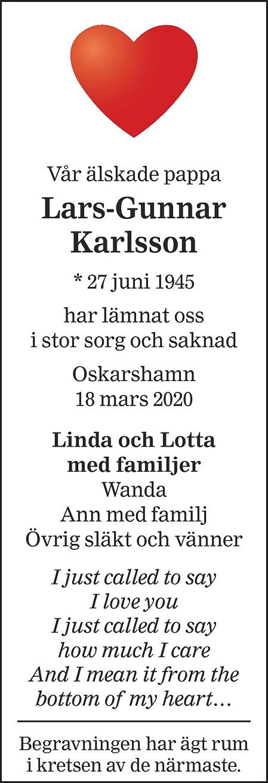 Lars-Gunnar Karlsson Death notice