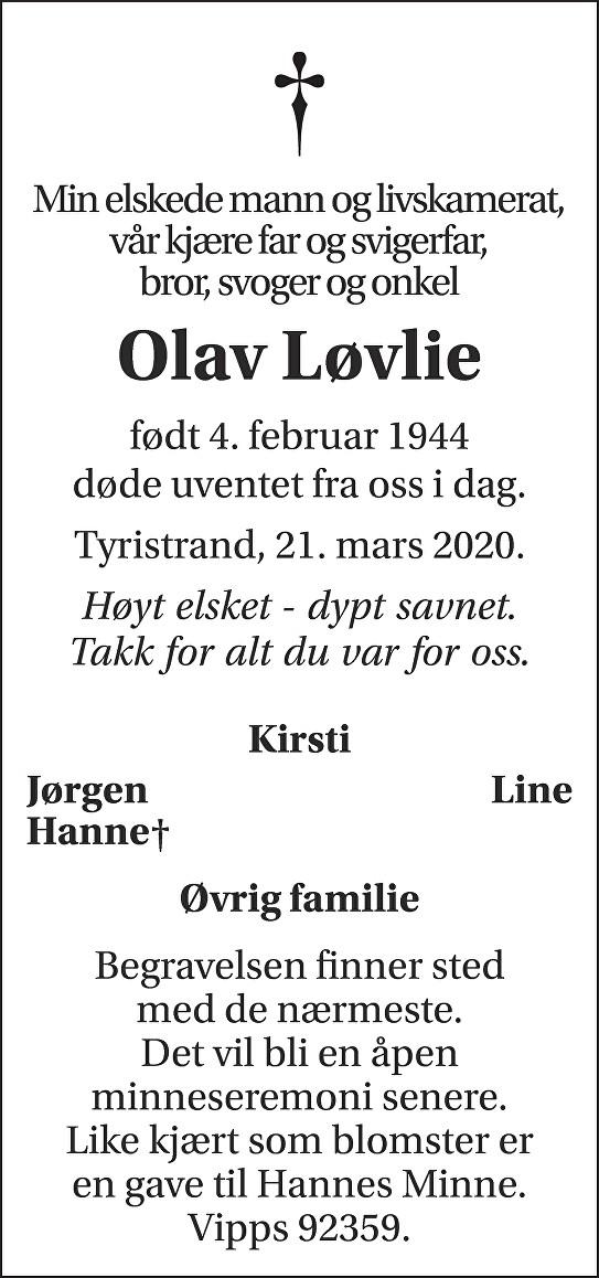 Olav Mangor Løvlie Dødsannonse