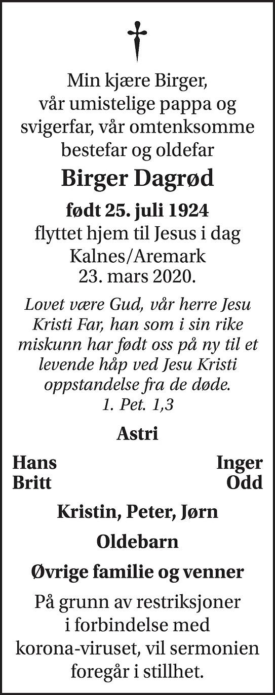 Birger Dagrød Dødsannonse