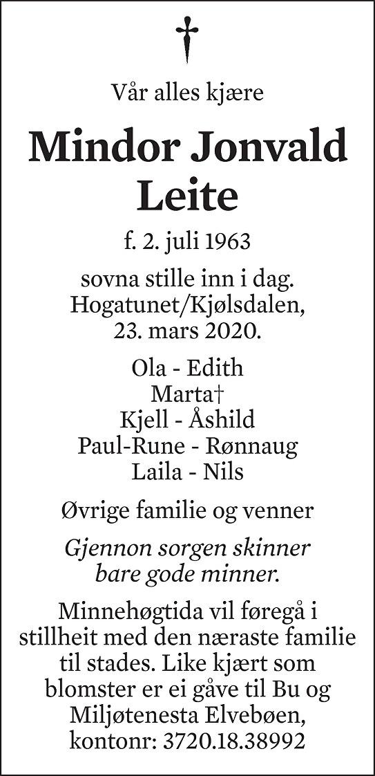 Mindor Jonvald Leite Dødsannonse