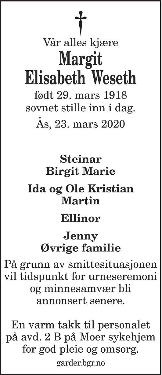 Margit Elisabeth Weseth Dødsannonse