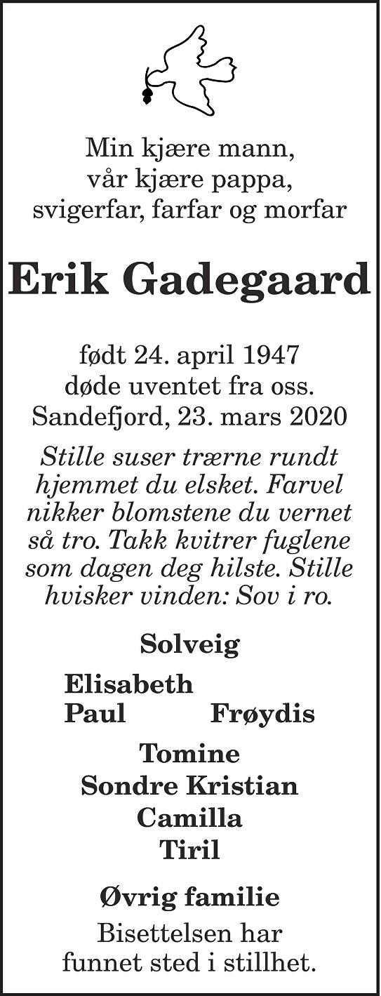 Erik Gadegaard Dødsannonse