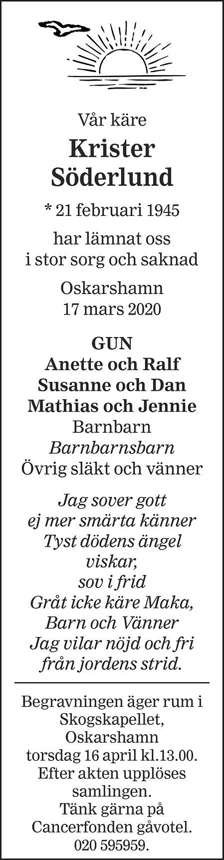 Krister Söderlund Death notice