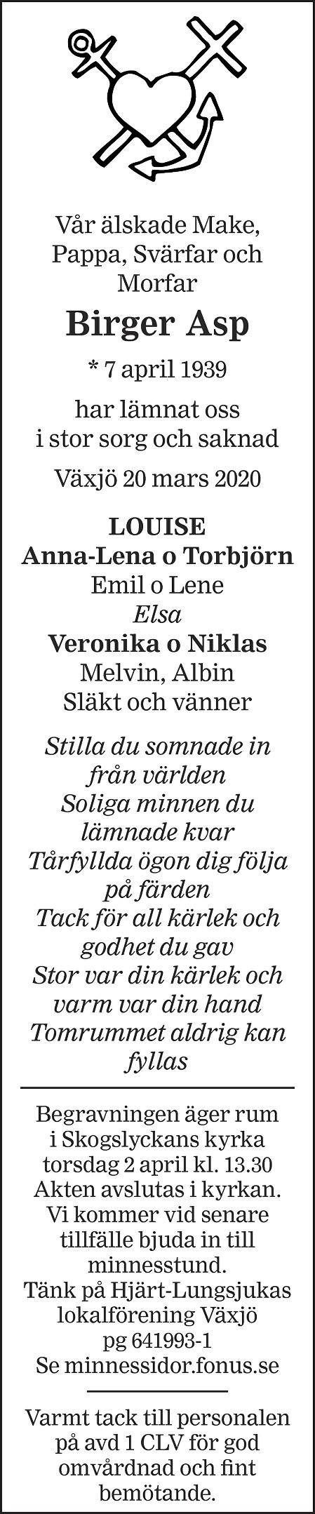 Birger Asp Death notice